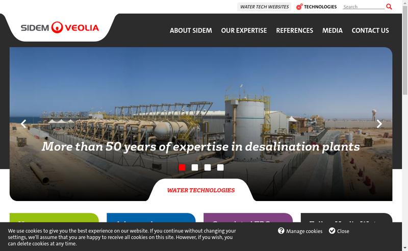 Capture d'écran du site de Societe Internationale de Dessalement