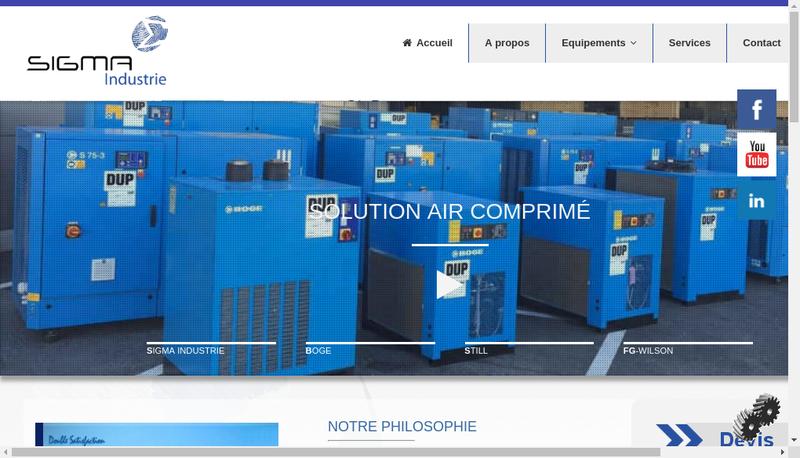 Capture d'écran du site de Sigma Industries