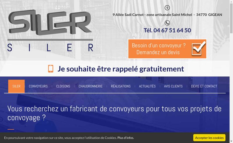 Capture d'écran du site de Siler