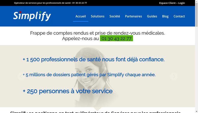 Capture d'écran du site de Simplify