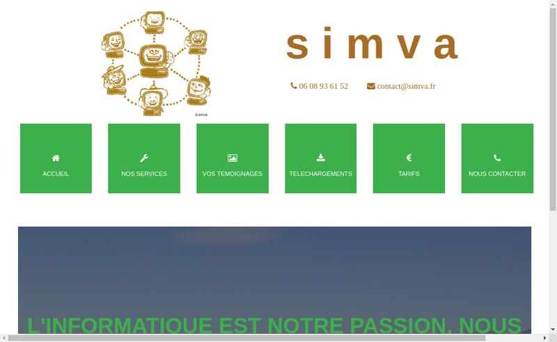 Capture d'écran du site de Simva