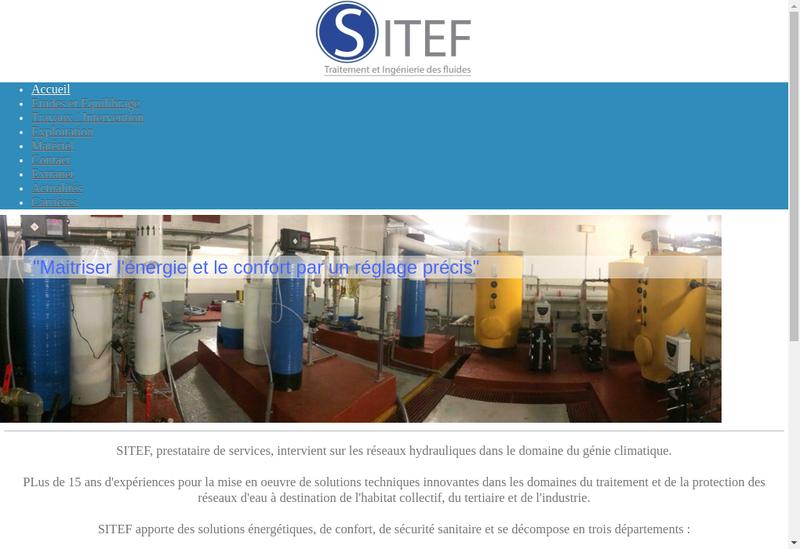 Capture d'écran du site de Sitef
