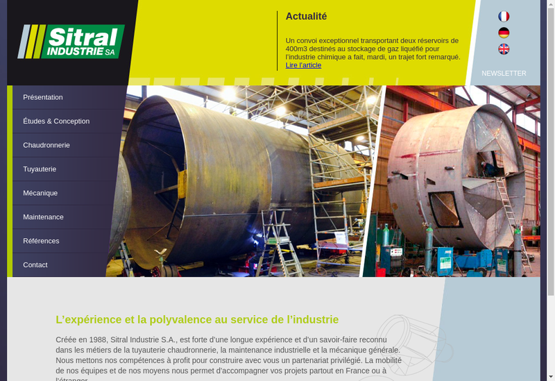 Capture d'écran du site de Sitral Industrie SA