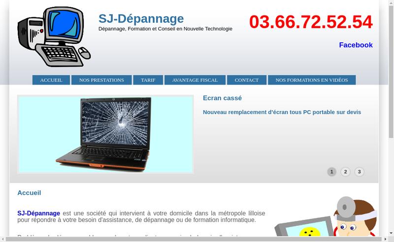 Capture d'écran du site de SJ Depannage