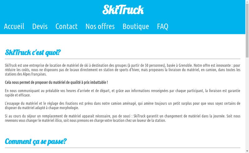 Capture d'écran du site de Skitruck