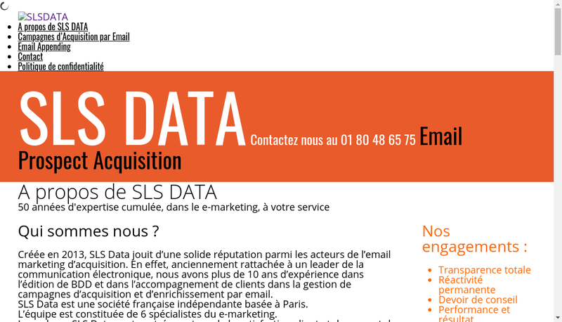 Capture d'écran du site de Sls Data