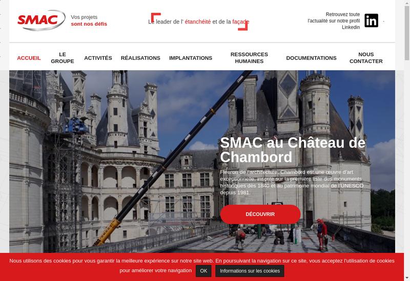 Capture d'écran du site de SMAC