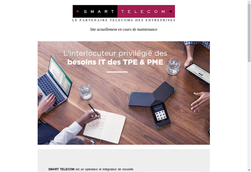 Capture d'écran du site de Smart Telecom