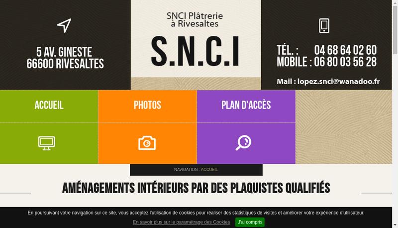 Capture d'écran du site de SARL Snci