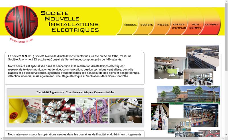 Capture d'écran du site de Nouvelle Installation Electriques