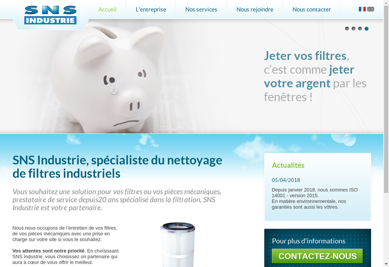 Capture d'écran du site de SNS Industrie