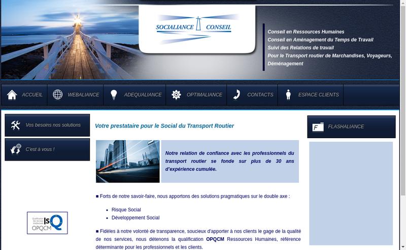 Capture d'écran du site de Socialiance Conseil