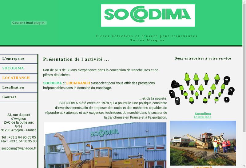 Capture d'écran du site de Socodima