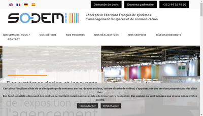 Capture d'écran du site de Sodem