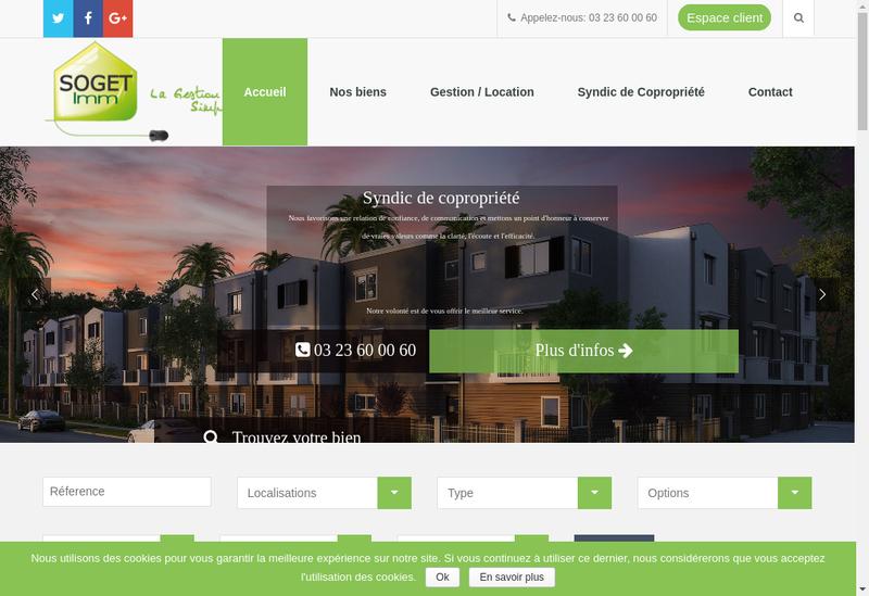 Capture d'écran du site de Soget Imm