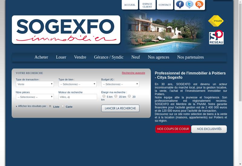 Capture d'écran du site de Citya Sogexfo