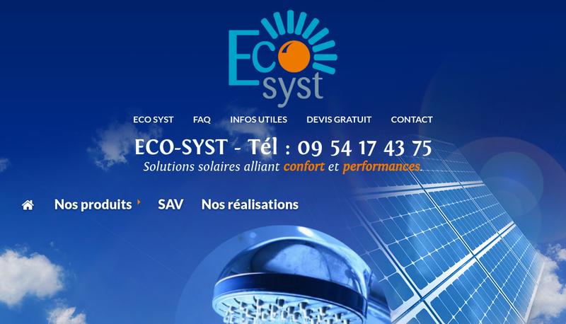 Capture d'écran du site de Eco-Syst