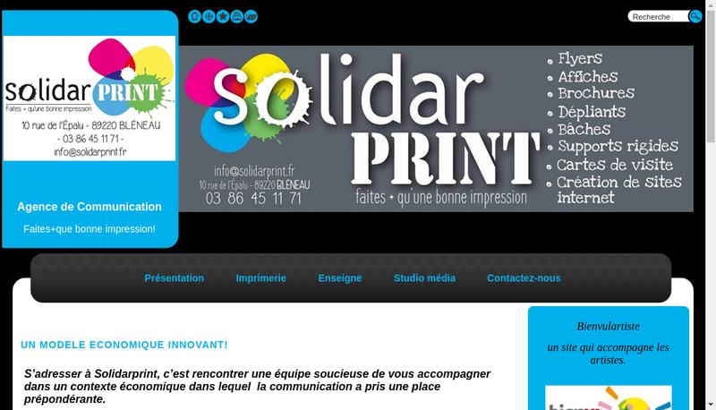 Capture d'écran du site de Solidarprint