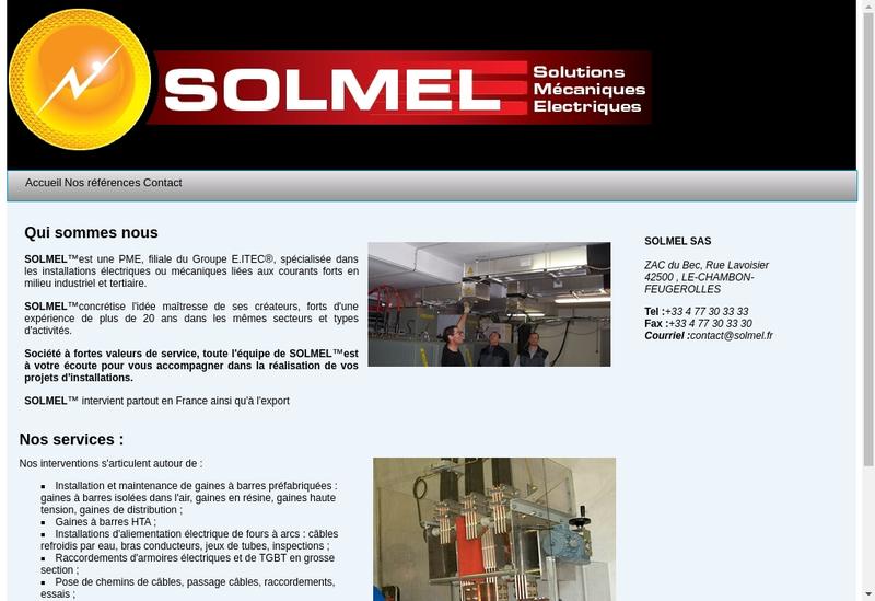 Capture d'écran du site de Solmel