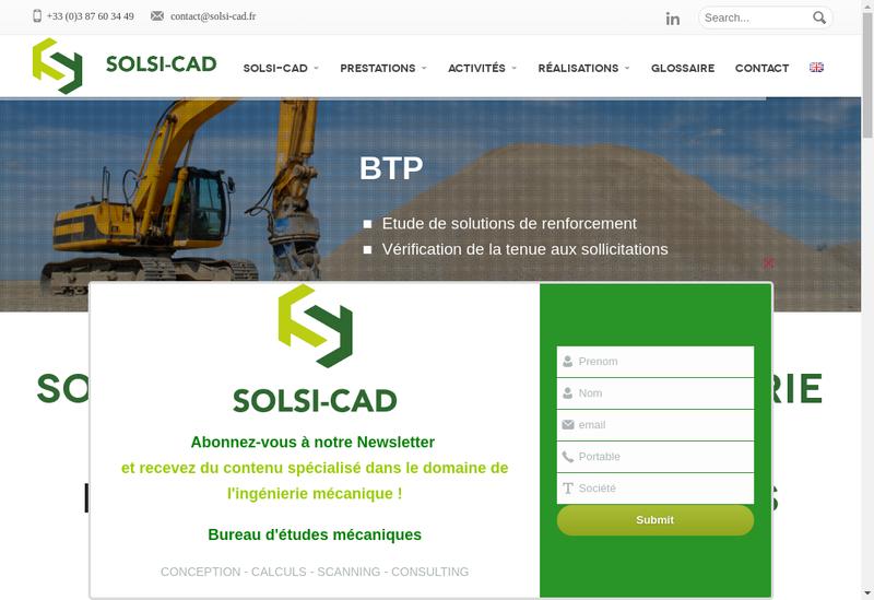 Capture d'écran du site de Solsi Cad