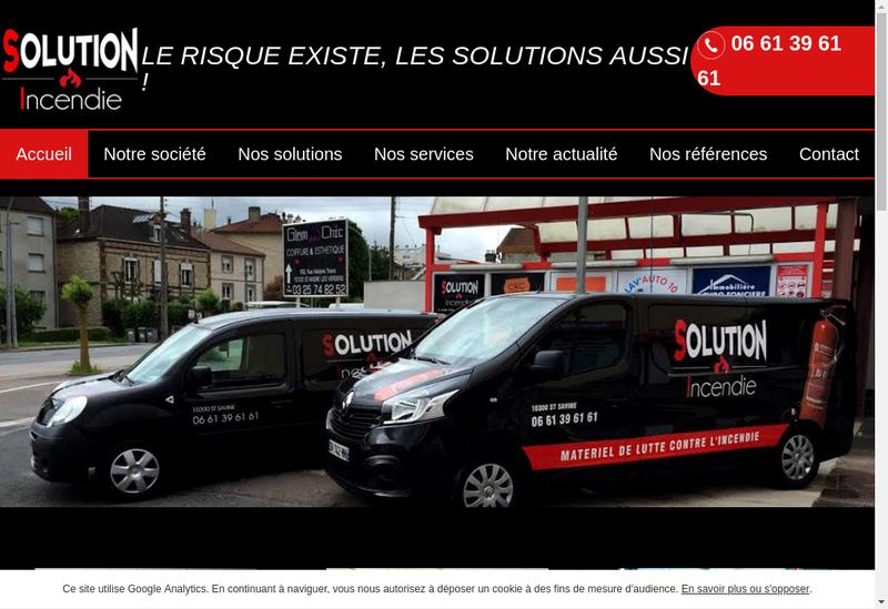 Capture d'écran du site de Solution Incendie