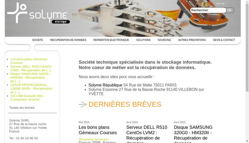 Capture d'écran du site de Solyme