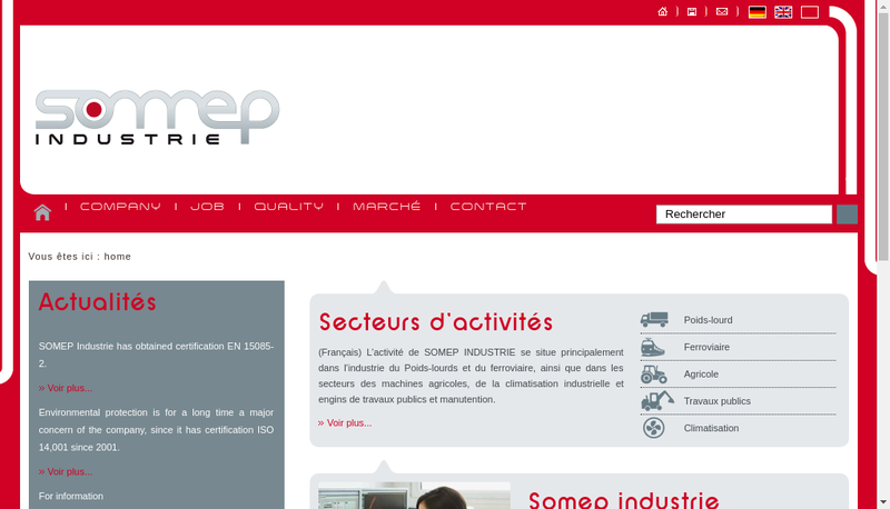 Capture d'écran du site de Somep Industrie