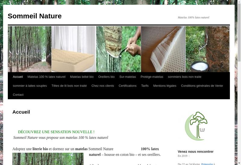 Capture d'écran du site de Sommeil Nature