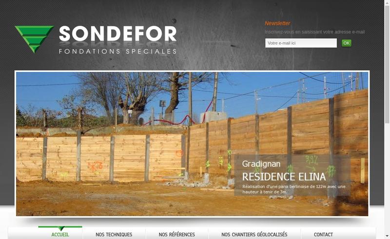 Capture d'écran du site de Sondefor Sondages et Forages