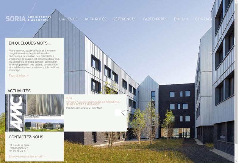 Capture d'écran du site de Soria Architectes et Associes