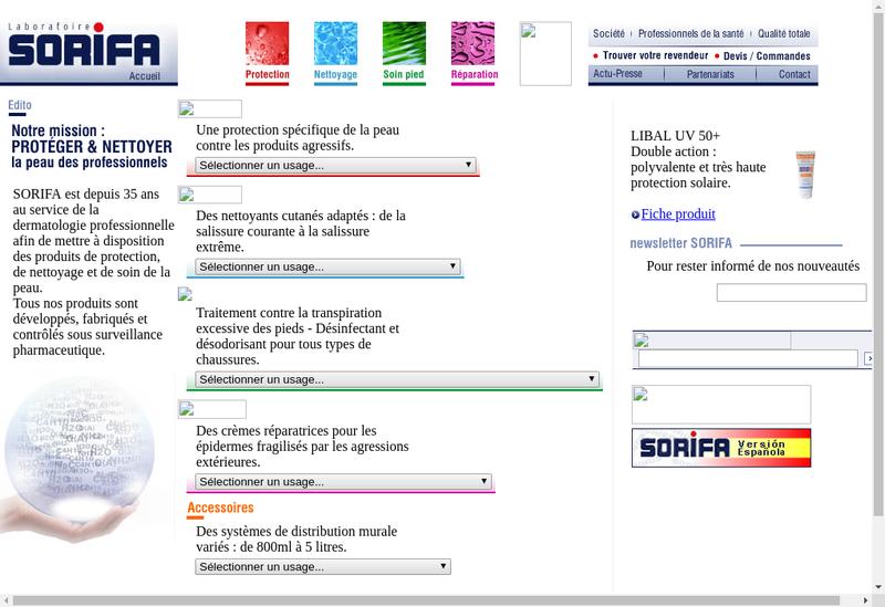 Capture d'écran du site de Sorifa