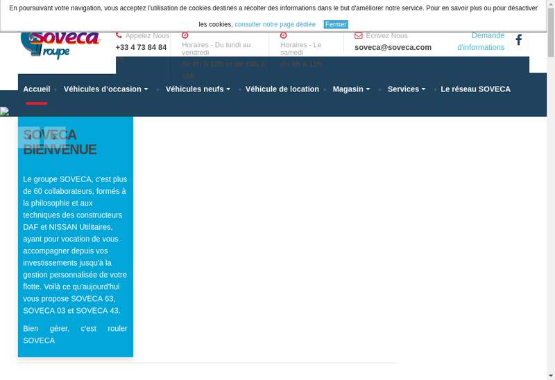 Capture d'écran du site de Soveca 63
