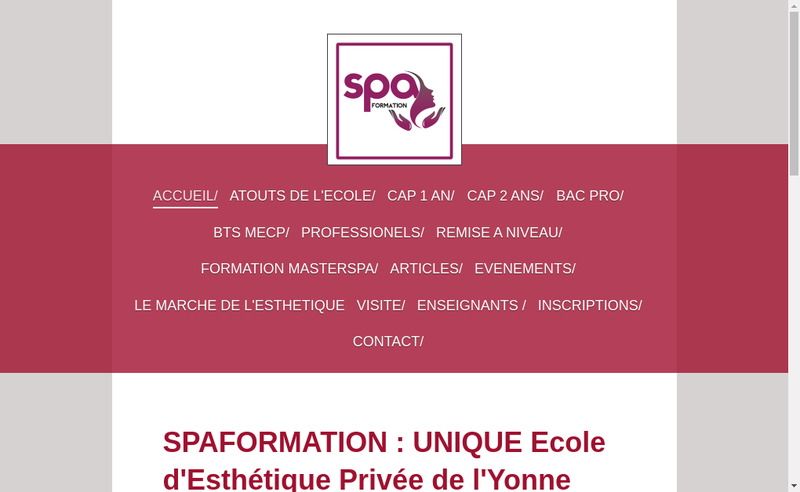 Capture d'écran du site de Spaformation
