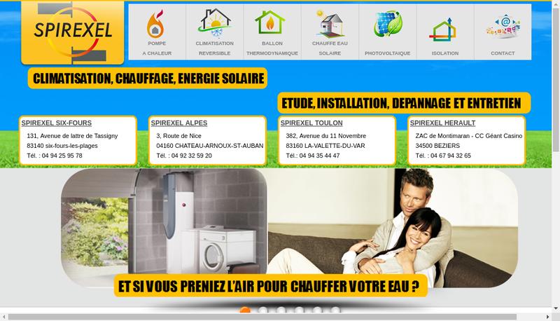 Capture d'écran du site de Spirexel