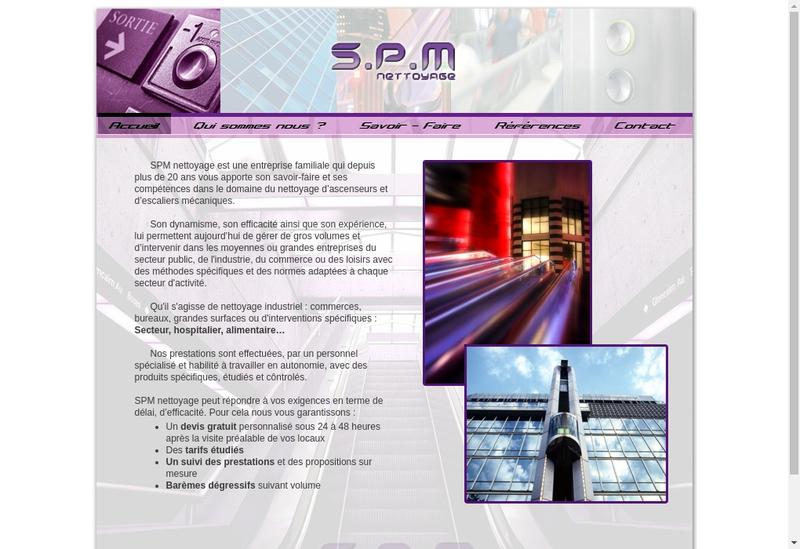 Capture d'écran du site de SPM Nettoyage