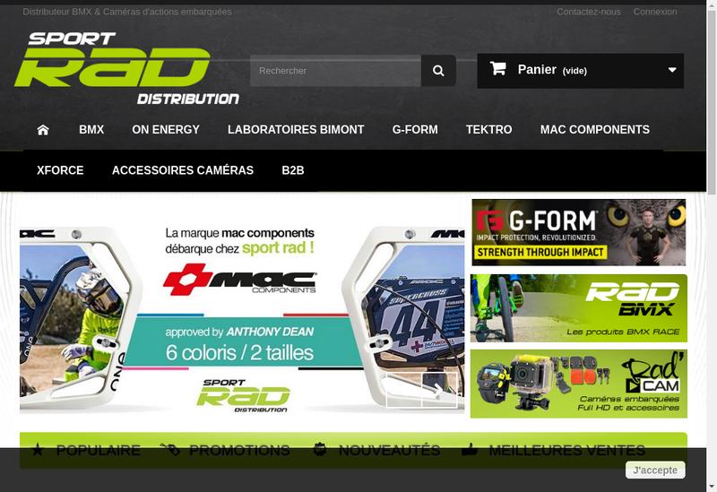 Capture d'écran du site de Sport Rad Distribution