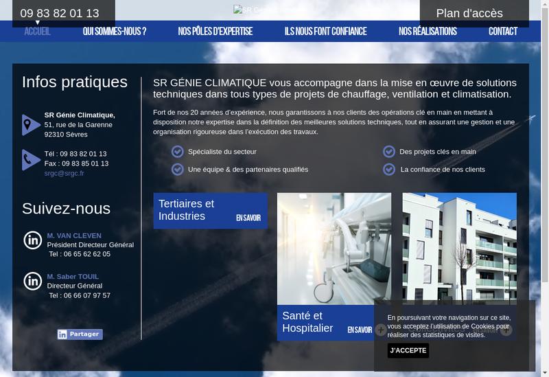 Capture d'écran du site de Sr Genie Climatique