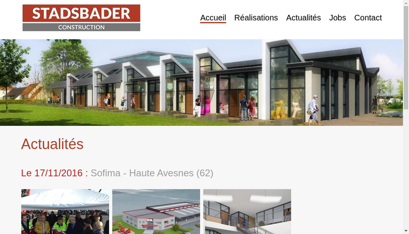 Capture d'écran du site de Stadsbader Construction