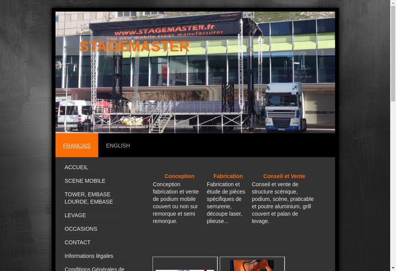 Capture d'écran du site de Stagemaster