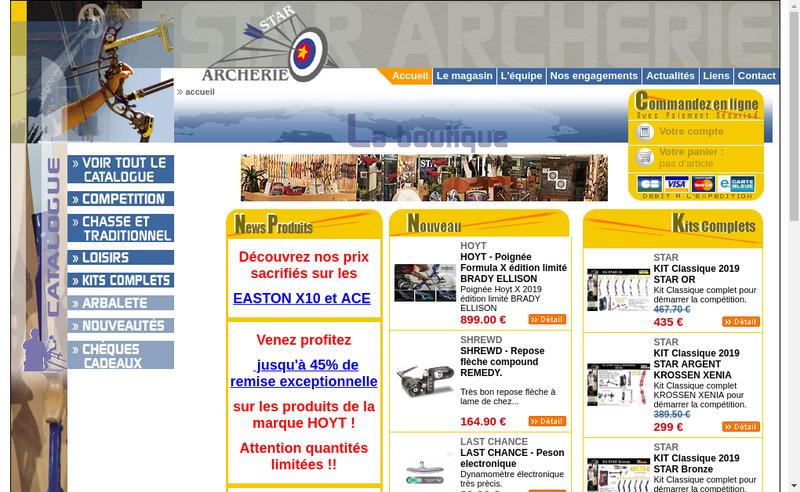 Capture d'écran du site de Star Archerie