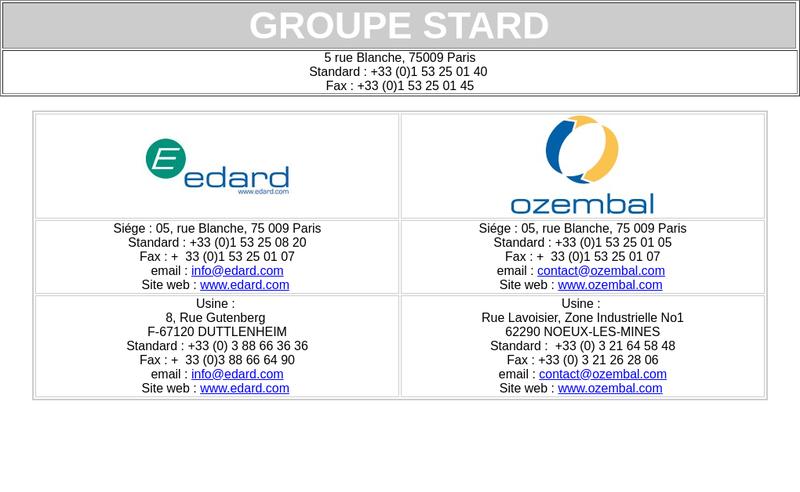 Capture d'écran du site de Stard