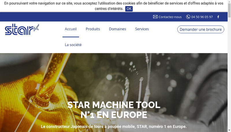 Capture d'écran du site de Star Machine Tool France