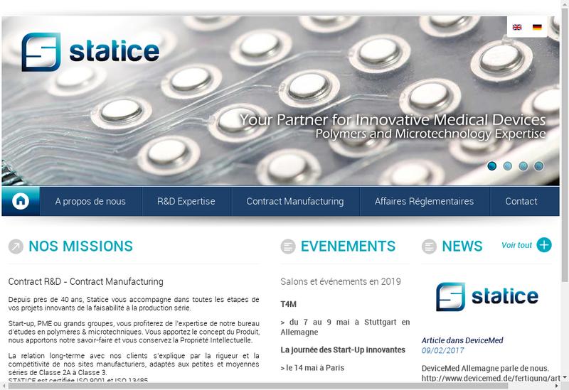 Capture d'écran du site de Statice Etudes et Developpement Statice R & D Statice Innovation Cap Tech