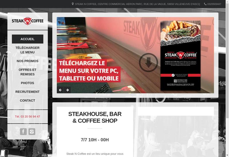 Capture d'écran du site de Steak'N'Coffee