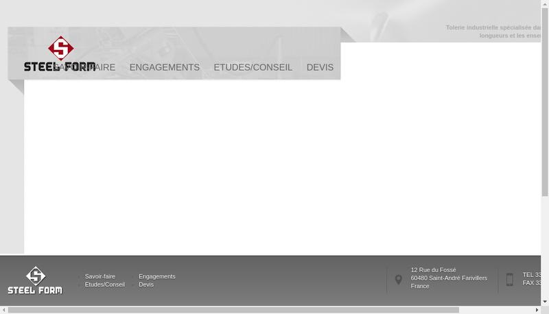 Capture d'écran du site de Steelform