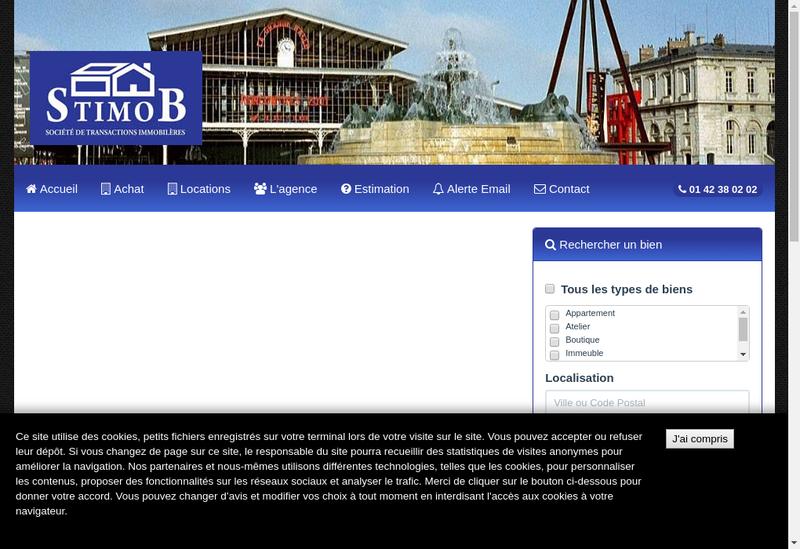 Capture d'écran du site de Societe Transactions Immob STIMOB