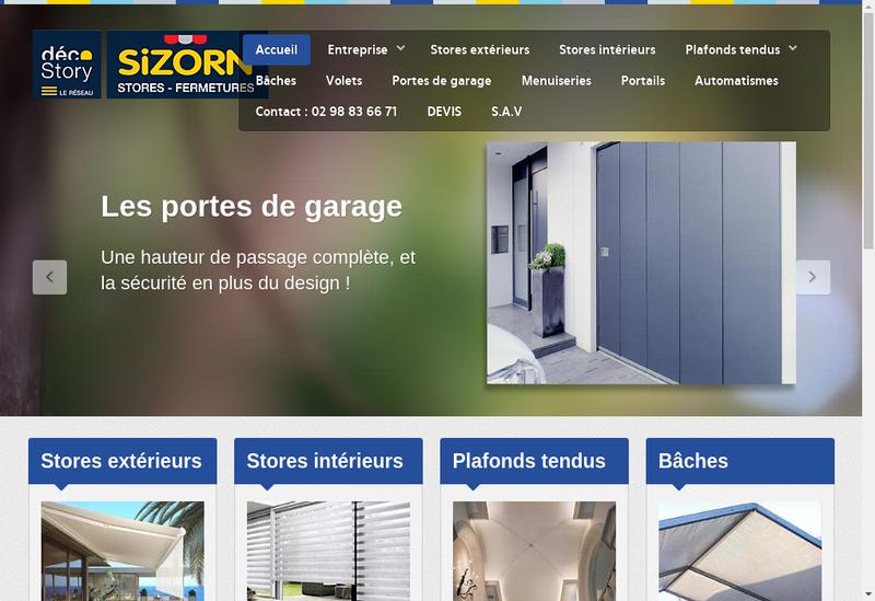 Capture d'écran du site de Sizorn Stores