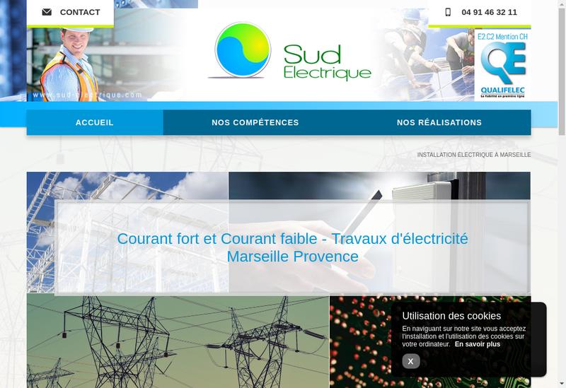 Capture d'écran du site de Sud Electrique