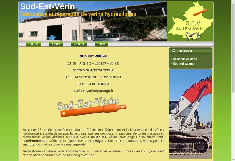 Capture d'écran du site de Sud Est Verins SEV
