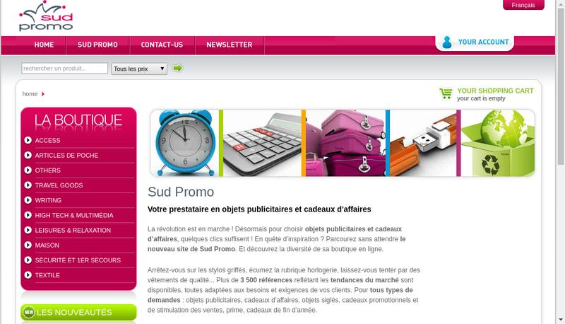 Capture d'écran du site de Sud Promo le Joker de la Communication